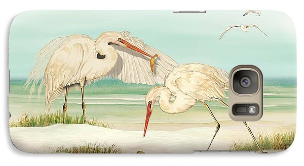 Galaxy Case featuring the painting Herons Fishing by Anne Beverley-Stamps