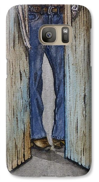Galaxy Case featuring the painting Blue Jeans Looking Good by Kelly Mills