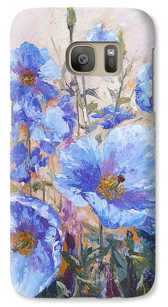 Galaxy Case featuring the painting Himalayan Blue Poppies by Karen Mattson