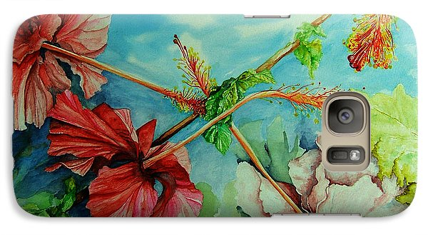 Galaxy Case featuring the painting Hiroko's Hibiscus 3 by Rachel Lowry