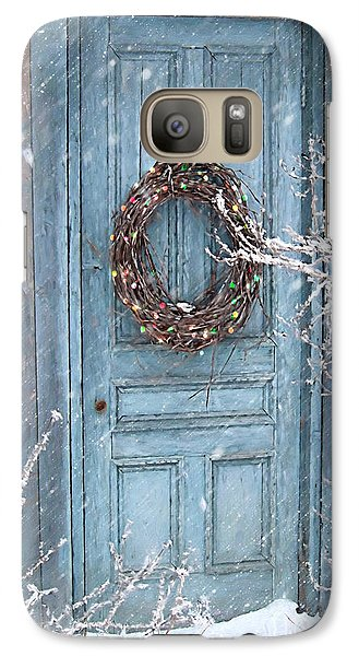Galaxy Case featuring the photograph Barn Door And Holiday Wreath/digital Painting by Sandra Cunningham