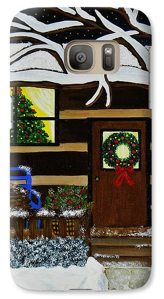 Galaxy Case featuring the painting Holiday Cabin by Celeste Manning