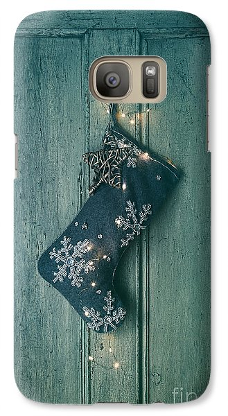 Galaxy Case featuring the photograph Holiday Stocking With Lights Hanging On Old Door by Sandra Cunningham