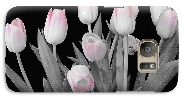 Galaxy Case featuring the photograph Holland Tulips In Black And White With Pink by Jeannie Rhode