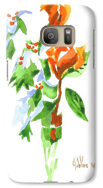 Galaxy Case featuring the painting Holly With Red Roses In A Vase by Kip DeVore