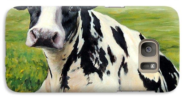Cow Galaxy S7 Case - Holstein Cow Relaxing In Field by Dottie Dracos