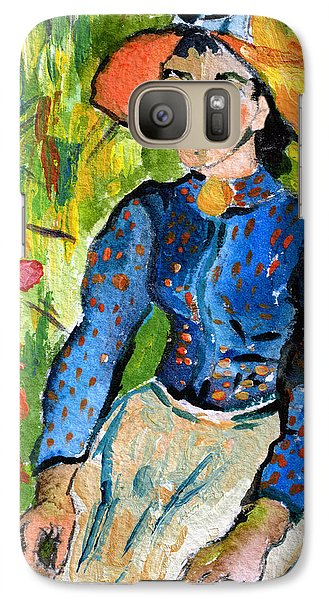 Galaxy Case featuring the painting Homage To Vincent Young Women In Straw Hat Sitting In Wheat Field by Ginette Callaway