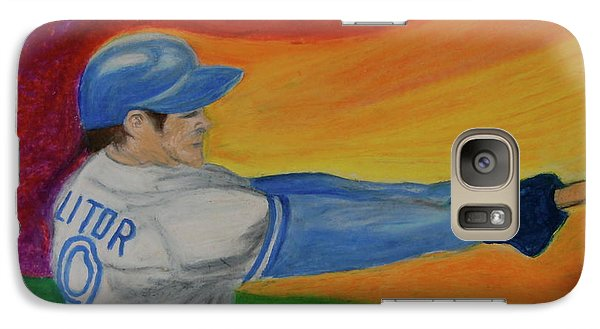 Galaxy Case featuring the drawing Home Run Swing Baseball Batter by First Star Art