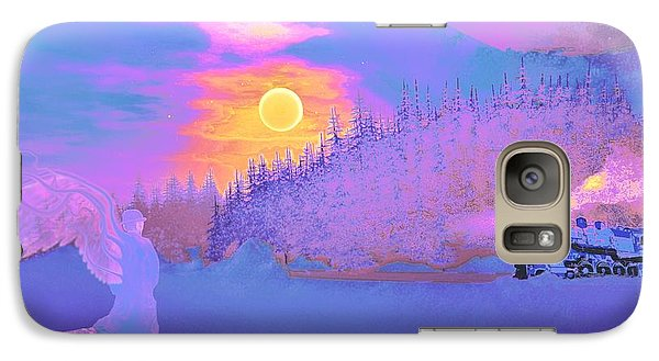 Galaxy Case featuring the painting Homebound Train Angel And A Suitcase by David Mckinney