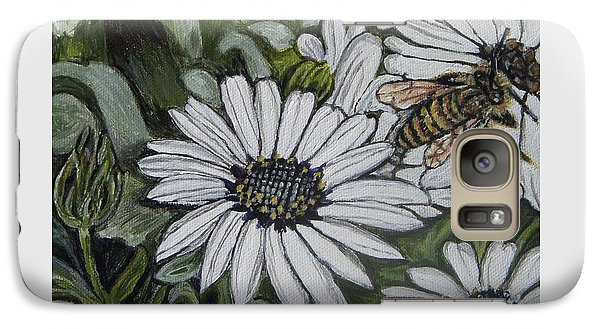 Galaxy Case featuring the painting Honeybee Taking The Time To Stop And Enjoy The Daisies by Kimberlee Baxter