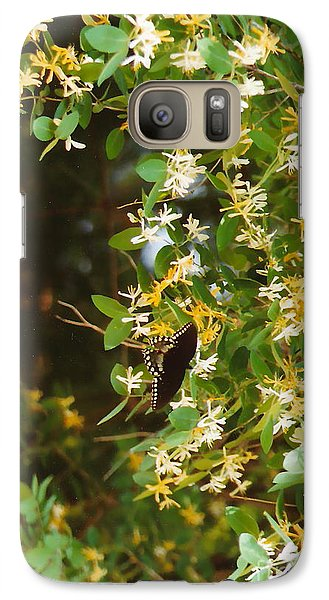 Galaxy Case featuring the photograph Honeysuckle And Butterfly  by Jesse Ciazza