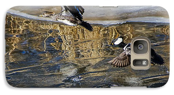 Galaxy Case featuring the photograph Hooded Merganser Ducks In Flight by Stephen  Johnson