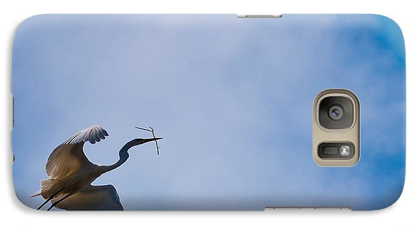 Galaxy Case featuring the photograph Hopeful Egret Building A Home  by Terry Garvin