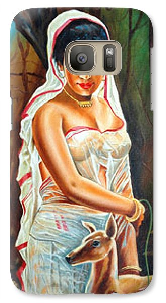 Galaxy Case featuring the painting Hopeful Heart - Sakunthala Waits For Dushyant by Ragunath Venkatraman