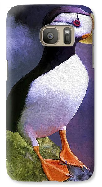 Horned Puffin Galaxy Case by David Wagner