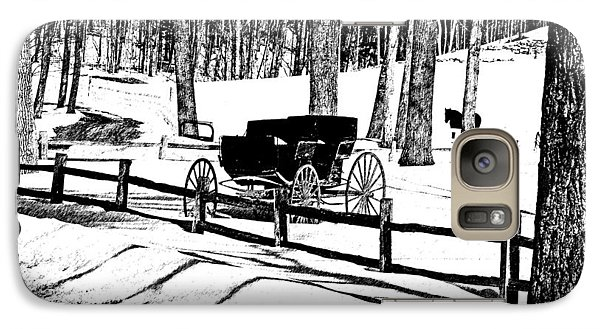 Galaxy Case featuring the photograph Horse And Buggy - No Work Today A Black And White Abstract by Janice Adomeit