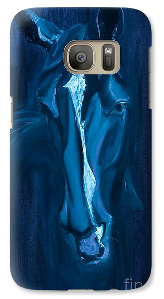 Galaxy Case featuring the painting horse - Apple indigo by Go Van Kampen