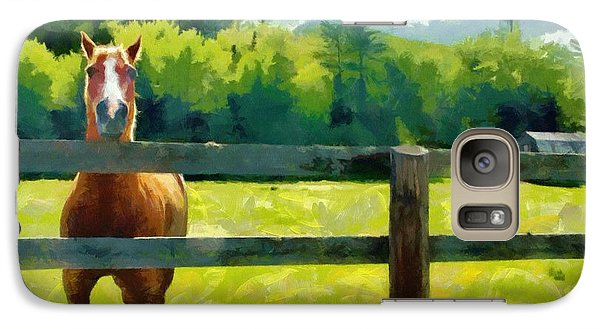 Galaxy Case featuring the painting Horse In The Field by Jeff Kolker