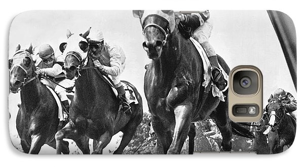 Horse Galaxy S7 Case - Horse Racing At Belmont Park by Underwood Archives