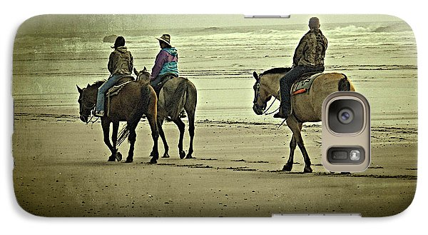 Galaxy Case featuring the photograph Horseback Riding On The Beach by Thom Zehrfeld