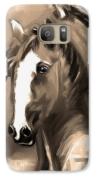 Galaxy Case featuring the painting Horse Together 1 Sepia by Go Van Kampen