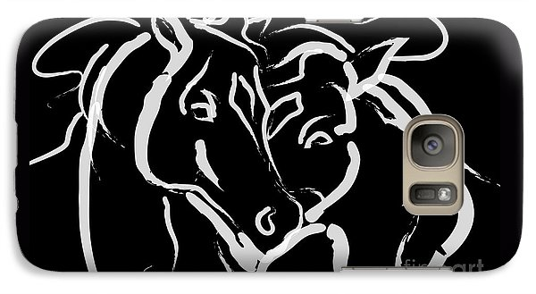 Galaxy Case featuring the painting Horse- Together 5 by Go Van Kampen