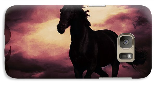 Galaxy Case featuring the photograph Horse With Tribal Tattoo Purple by Mindy Bench