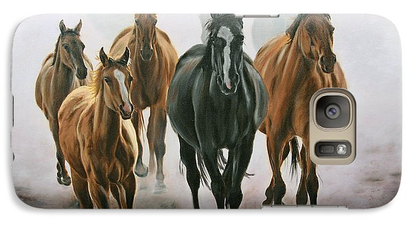 Galaxy Case featuring the painting Horses And Dust by Jason Marsh