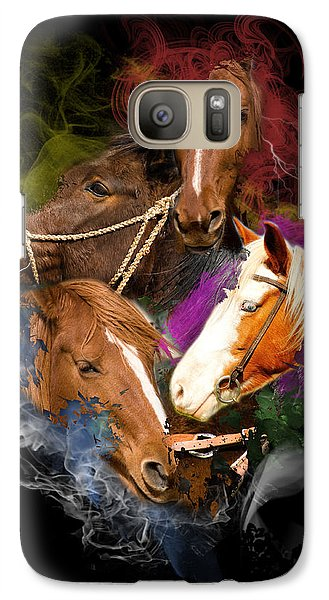 Galaxy Case featuring the digital art Horses Gone Wild by Davina Washington