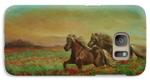 Galaxy Case featuring the painting Horses In The Field With Poppies by Sorin Apostolescu