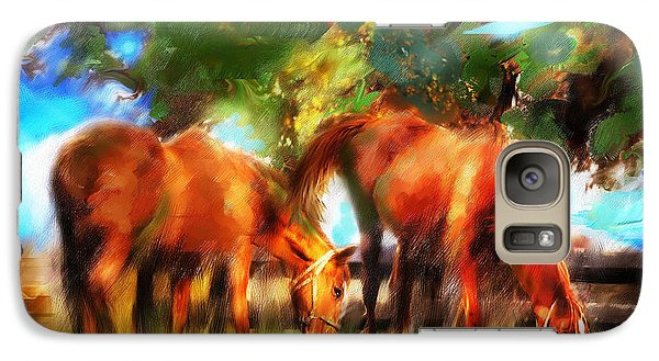 Galaxy Case featuring the painting Horses On A Kentucky Farm by Ted Azriel