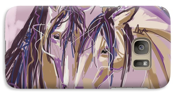 Galaxy Case featuring the painting horses Purple pair by Go Van Kampen
