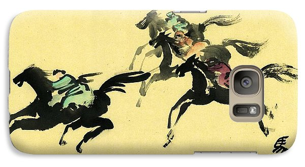 Galaxy Case featuring the painting Horse Racing by Ping Yan