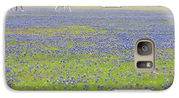 Galaxy Case featuring the photograph Horses Running In Field Of Bluebonnets by Connie Fox