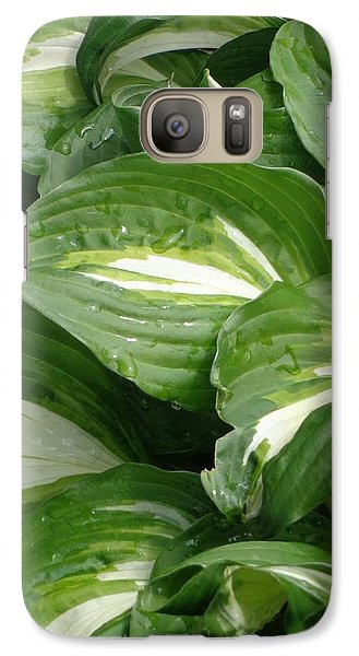 Galaxy Case featuring the photograph Hosta Leaves After The Rain by Christina Verdgeline