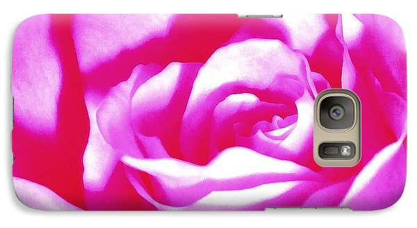 Galaxy Case featuring the photograph Hot Pink And White Rose by Janine Riley