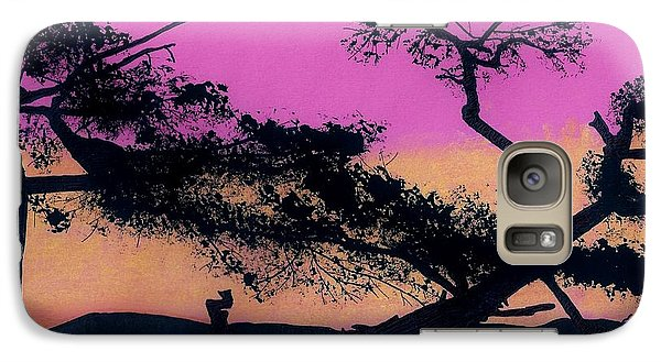 Galaxy Case featuring the drawing Hot Pink Sunset by D Hackett