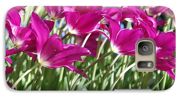 Galaxy Case featuring the photograph Hot Pink Tulips 2 by Allen Beatty