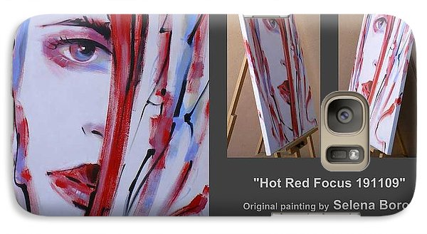Galaxy Case featuring the painting Hot Red Focus 191109 by Selena Boron