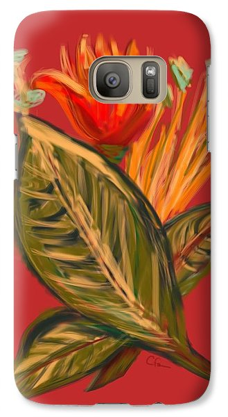 Galaxy Case featuring the digital art Hot Tulip L by Christine Fournier