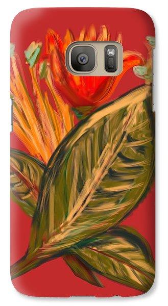 Galaxy Case featuring the digital art Hot Tulip R by Christine Fournier