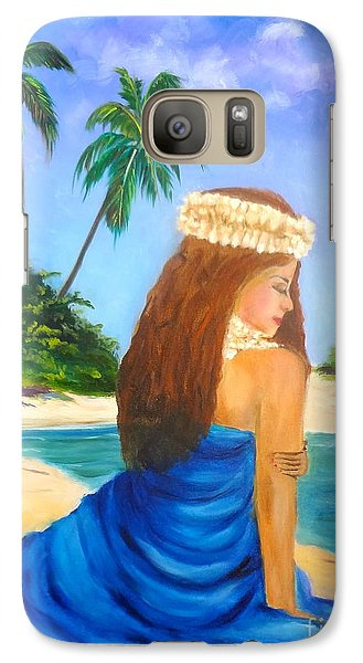 Galaxy Case featuring the painting Hula Girl On The Beach by Jenny Lee