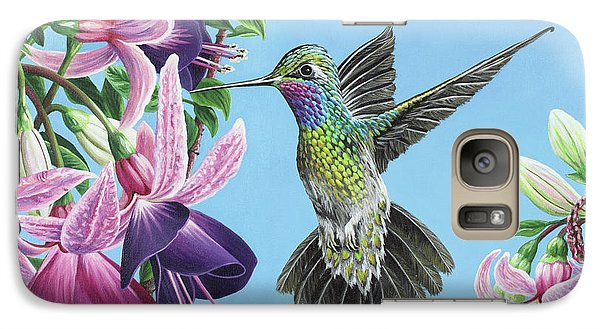 Galaxy Case featuring the painting Hummingbird And Fuchsias by Jane Girardot