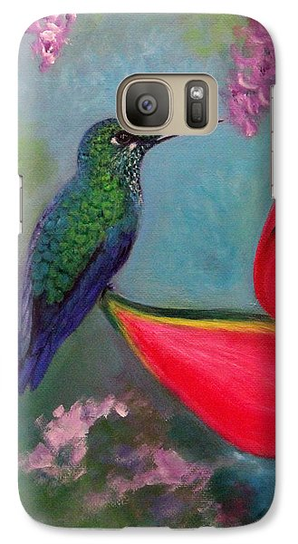 Galaxy Case featuring the painting Hummingbird And Heliconia by Janet Greer Sammons