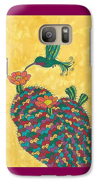 Galaxy Case featuring the painting Hummingbird And Prickly Pear by Susie Weber