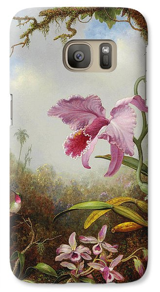 Orchid Galaxy S7 Case - Hummingbird And Two Types Of Orchids by Martin Johnson Heade