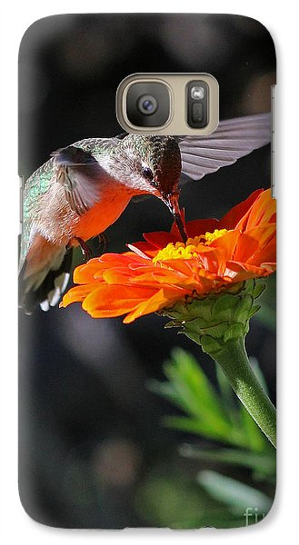 Galaxy Case featuring the photograph Hummingbird And Zinnia by Steve Augustin