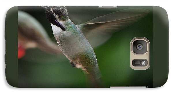 Galaxy Case featuring the photograph Hummingbird Male Anna In Flight Over Perch by Jay Milo