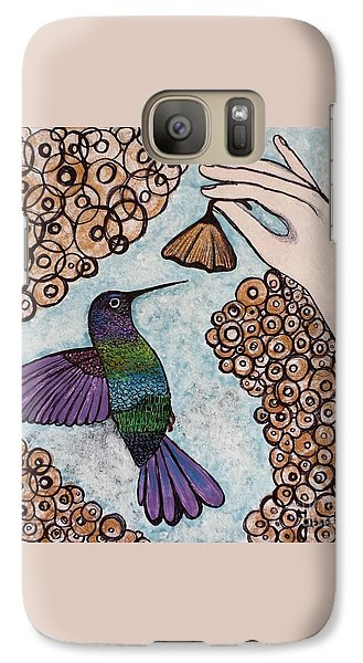 Galaxy Case featuring the painting Hummingbird Golden Flower by Jasna Gopic