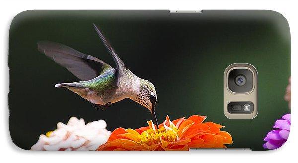 Hummingbird In Flight With Orange Zinnia Flower Galaxy S7 Case